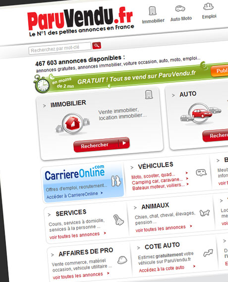 Paruvendu.fr offers real estate classifieds, cars, car / motorcycle, employment, holidays